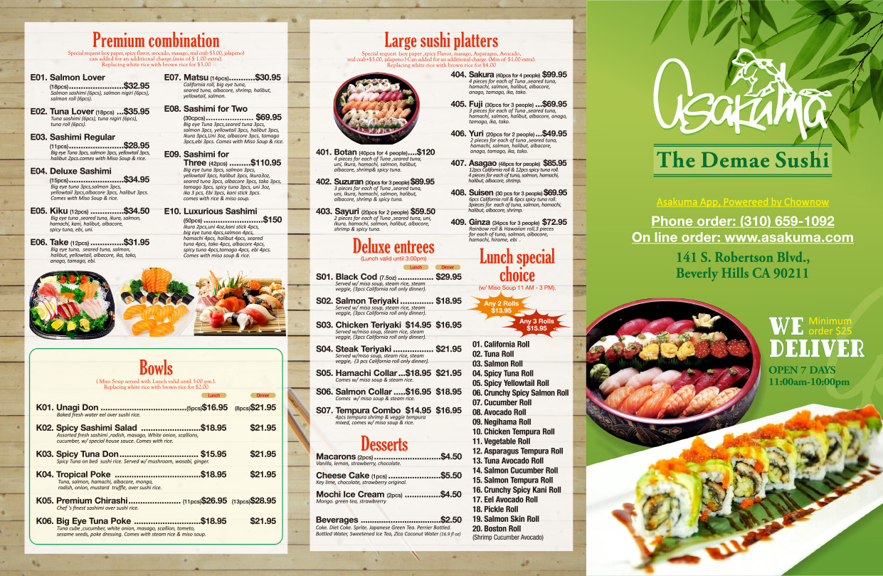 Premium combination, Bowls, Large sushi platters, Deluxe entrees, Lunch special choice, desserts